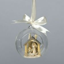 Foundations Christmas NATIVITY ORNAMENT Glass Dome Ornament 4034774 KAREN HAHN