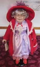 """Golden Keepsake Hairloom Doll 18"""" Red Hat grandma with stand"""