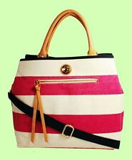 TOMMY HILFIGER CLUB Stripped Shoulder Tote Bag Msrp $128.00 * FREE SHIPPING *