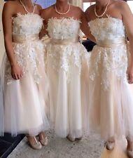 Stunning Vintage Style Tea Length Wedding Formal Bridesmaid Dress