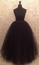 Black Tulle Skirt Gown Floor Length maxi full Long prom net mesh Xmas party