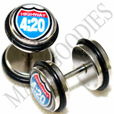 0011 Fake Cheater Faux Illusion Plugs 16G Look 0G 8mm Highway 4:20 Sign Weed Pot