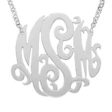 Mono04A Personalized Sterling Silver 1.5 Inch Three Initial Monogram Necklace