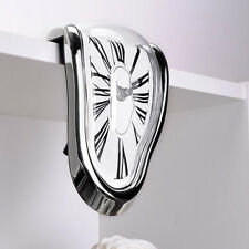 Novelty Timepiece Art Melting Quartz Clock Watch Wall Clocks Silent Silver