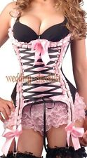 Sexy Pink Black Underbust Satin Lace Corset Size S Ruffle Trim Bustier WC g2734