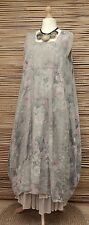 LAGENLOOK LINEN OVERSIZED FLORAL 2 POCKETS LONG DRESS**BEIGE** XL-XXL BUST 52-54