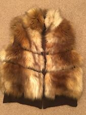 SIZE 16 NEXT BROWN/CREAM FAUX FUR/LEATHER GILET XMAS/TOWIE/PARTY RRP £65