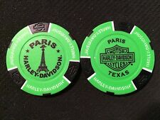 "Harley Davidson Poker Chip  (NEON Green & Black)  ""Paris H-D""  Paris, Texas"
