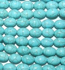 NG1669L2 Blue Turquoise Magnesite w Matrix 14x10mm Oval Rice Gemstone Beads 15""