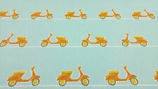 Vespa Ride Scooters Mopeds Tangerine Curtain Craft Upholstery Cotton Fabric