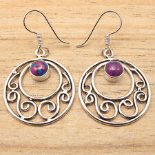 925 Silver Plated Low Price PURPLE COPPER TURQUOISE Stone Earrings MADE IN INDIA