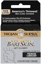 Trojan Supra Non-Latex Bareskin - 3 Pack Lubricated Condoms Valentine New Adult