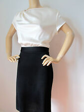 NEW ST JOHN KNIT SZ 10 DRESS BLACK CAVIAR & WHITE CREAM WOOL & RAYON SATIN TOP