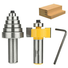 Rabbet Carbide Router Bit Milling Tool With 6 Bearings 1/2'' Shank Set