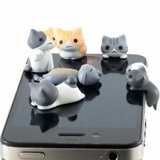 Cute 3D Cat Mobile Phone Earcap Earphone Stopper Anti Jack Dust Plug Cover 3.5mm