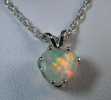 OPAL - Genuine Ethiopian Sizzling Petite Heart .925 Sterling Necklace 0.83ct
