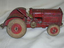 """Vintage Arcade McCormick Deering Tractor 7 1/2"""" Cast Iron Red Toy Antique"""