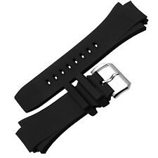 26mm Black Rubber Watch Band Strap Buckle for IWC371918 Aquatimer Family replace