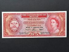 Belize 5 Five Dollars P35b Queen Elizabeth II Dated 1st January 1976 EF