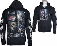 Grim Reaper Skull Death Glow In The Dark Zip Zipped Hoodie Hoody Jacket M -XXL