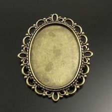 20pcs Vintage Bronze Retro Oval Lace Cameo Setting 25*20mm Pin Brooch 32087