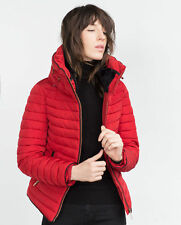 ZARA RED QUILTED JACKET COAT PUFFER ANORAK FUR COLLAR SIZE S UK 8