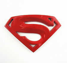 Car SUV Tank Cover Body Side Exterior Metal 3D Red Superman Emblem Sticker Badge