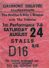 THE BEATLES REPRO 1963 BOURNEMOUTH GAUMONT THEATRE 24 AUGUST CONCERT TICKET