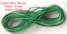 10 Metres GREEN Waxed Cotton Cord 2mm Jewellery Making String Thread Crafts
