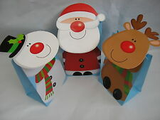 set of 3 small christmas gift / treat bags,santa,snowman and reindeer