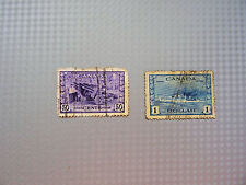 STAMPS CANADA 1942   2 STAMPS  HMS COSSACK & AMMUNITION FACTORY  CANADIAN  USED