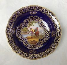 Meissen C19th Trinket Dish c.1880 Old Master Scene Musketeers Cobalt Ground Pin
