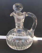 Antique EAPG? Clear Cut Glass Cruet with Stopper Smooth Bottom