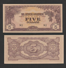 "Malaya Japanese Occupation 5 Dollars Prefix "" MJ "" - AUNC"