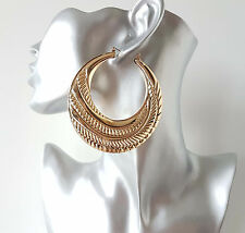 Gorgeous BIG shiny gold tone patterned creole  - pin hoop earrings *Top quality*