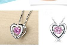 Silver Floating Dancing Pink Zirconia Stone Heart Frame Pendant Necklace Gift