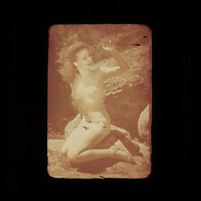 Vintage Nude Glass 35mm Transparency Slide 1940s Pre WWII Risque Pinup Photo H1