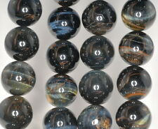 16MM BLUE TIGER EYE GEMSTONE HAWK EYE GRADE AB ROUND LOOSE BEADS 7.5""