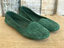 BOTTEGA VENETA Green Suede Woven Intrecciato Smoking Slippers Flats  SZ 39.5