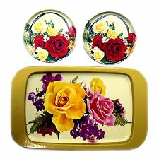 Vintage Tin Tray Set, 3 Tin Trays with roses flowers