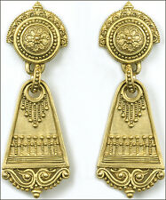 "Gold-Plated Roman Dangle Post Earrings with Sterling Silver Posts 0.75"" x 2"""