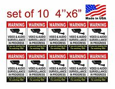 VIDEO SURVEILLANCE Security Decal  Warning Sticker (if you are.#2..) set of 10