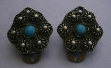 NR281) VINTAGE SILVER TONE METAL ORIENTAL TURQUOISE INLAY CLIP ON EARRINGS   SIZ