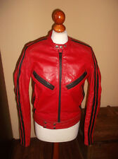 vintage 70`s Motorrad Lederjacke motorcycle red leather jacket rot Gr. S