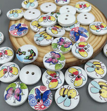 50 Mixed Bee Butterfly  Wooden Buttons Fit Sewing scrapbook Embellishments 15mm