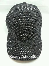 Bling Rhinestone Studded Front Ballcap Womans Hat Baseball Cap Cadet New Black