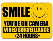 4x5 inch Smile You're On Camera Video Surveillance Sticker -24 hour cam warning