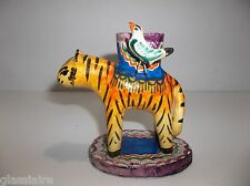Vintage Mexican Folk Art Pottery CANDLEABRA Candle Holder TIGER Birds Martinez