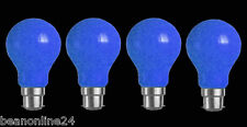 4 Pack BLUE Coloured Bayonet Party / Festoon Light Globes 25W B22