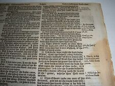 Very Rare ORIGINAL 1586 GENEVA Bible Leaf JEHOVAH  Watchtower research JUDGES 6